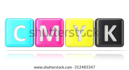 CMYK cubes. Abstract 3D render illustration isolated on white background