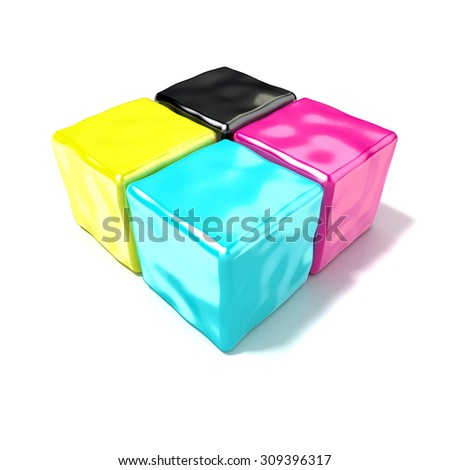 CMYK cubes sign, like symbol of printing. 3D render isolated on white background