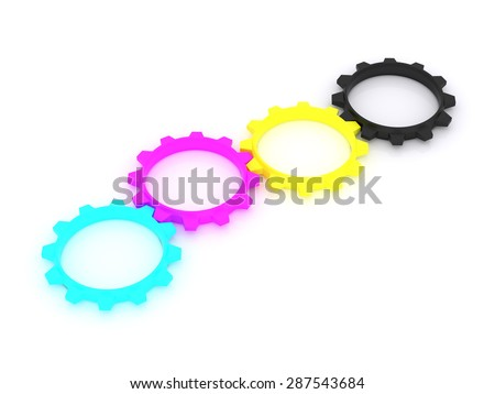 CMYK, Cyan, Magenta, Yellow, Key, in the form of gears. the concept of print settings. 3d - stock photo