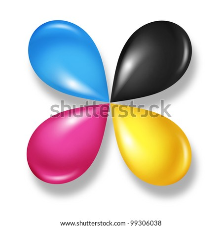 CMYK flower icon concept as cyan magenta yellow and black drops of ink or paint toner as a star symbol of four color printing and designer calibration of saturation and tonality of printed content. - stock photo