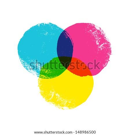 CMYK grunge circles - stock photo