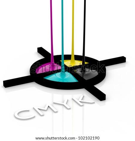 CMYK liquid inks spilling and registration marks, 3D render image - stock photo