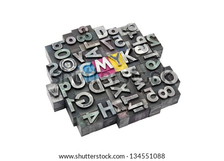Cmyk made from metal letters - stock photo