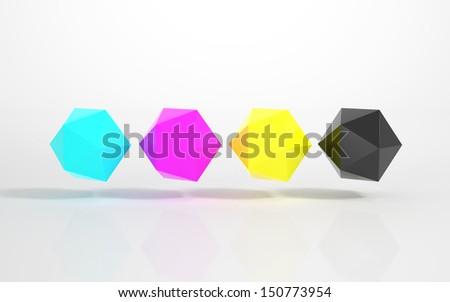 CMYK - Multicolored Icosahedrons - stock photo