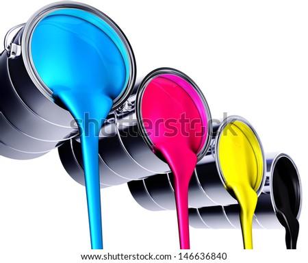 cmyk paint - stock photo