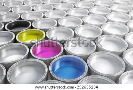 cmyk paint  buckets surrounded by white paint buckets - stock photo