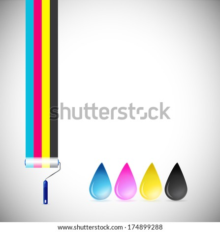 cmyk paint roller and ink drops illustration design over a white background - stock photo