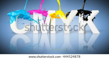 CMYK paint splash on letters on blue background 3D illustration