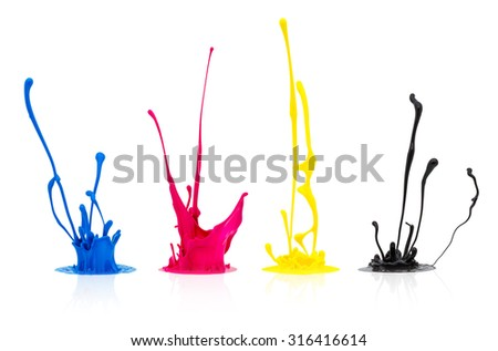CMYK paint splashing isolated on white - stock photo