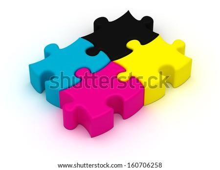 CMYK Puzzle - stock photo