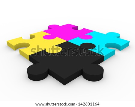 CMYK puzzle pieces. Graphic arts concept and metaphor - stock photo