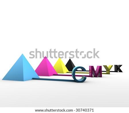 CMYK Pyramids - stock photo