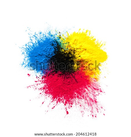 CMYK Toner mixed on white background - stock photo