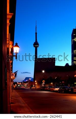 CN tower night view - stock photo
