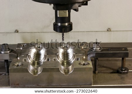 CNC lathe processing - stock photo