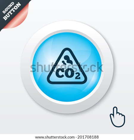 CO2 carbon dioxide formula sign icon. Chemistry symbol. Blue shiny button. Modern UI website button with hand cursor pointer. - stock photo
