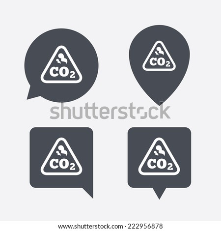 CO2 carbon dioxide formula sign icon. Chemistry symbol. Map pointers information buttons. Speech bubbles with icons. - stock photo