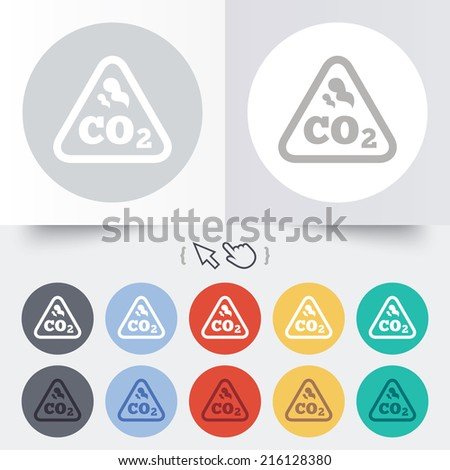 CO2 carbon dioxide formula sign icon. Chemistry symbol. Round 12 circle buttons. Shadow. Hand cursor pointer. - stock photo