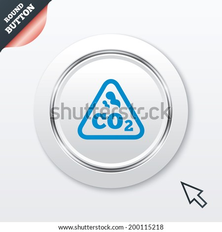 CO2 carbon dioxide formula sign icon. Chemistry symbol. White button with metallic line. Modern UI website button with mouse cursor pointer. - stock photo