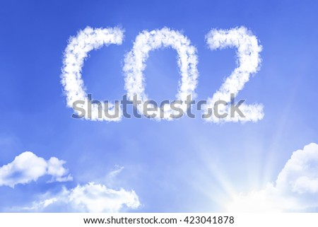 CO2 cloud word with a blue sky - stock photo