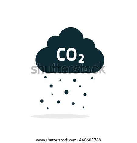 co2 emissions cloud icon, flat cartoon black carbon dioxide emits cloud, smog pollution concept, smoke pollutant damage, contamination rain bubbles, combustion products isolated symbol image - stock photo