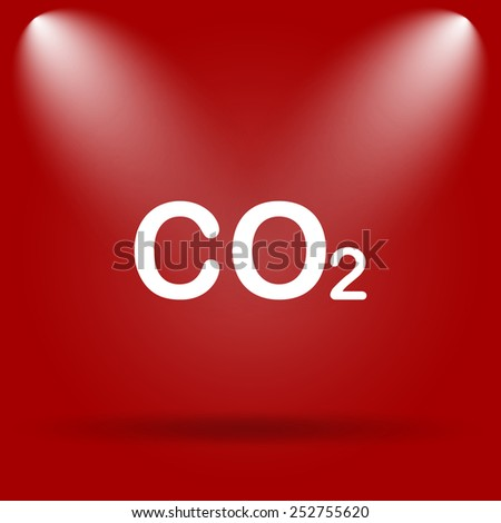 CO2 icon. Flat icon on red background.  - stock photo