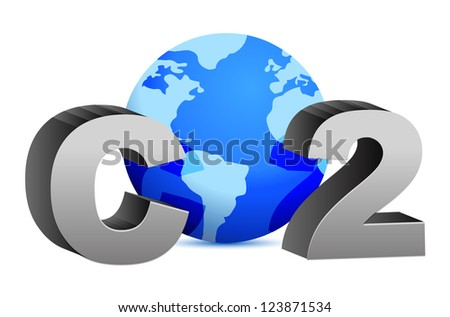 CO2 pollution in 3D's style illustration design over white - stock photo