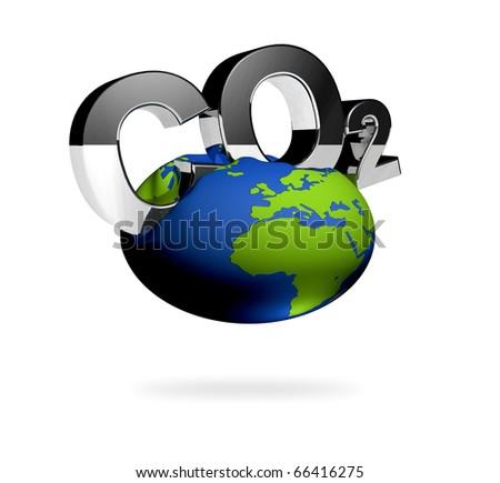 CO2 pollution in 3D's  style. Letters with an iron surface. - stock photo