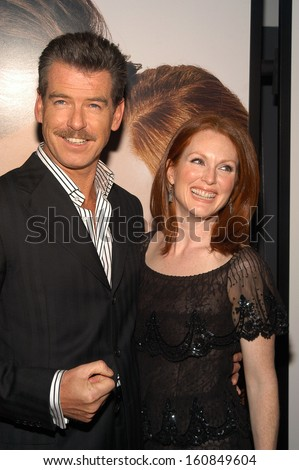 Co-stars Pierce Brosnan and Julianne Moore attend the world premiere screening of New Line Cinema's LAWS OF ATTRACTION at Loews Astor Plaza April 22, 2004 in New York City