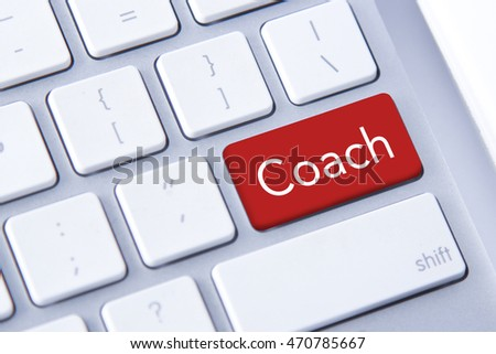 Coach word in red keyboard buttons