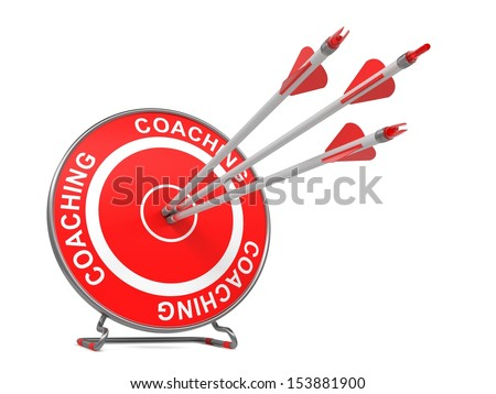"""Coaching - Business Background. Three Arrows Hitting the Center of a Red Target, where is Written """"Coaching"""". 3D Render. - stock photo"""
