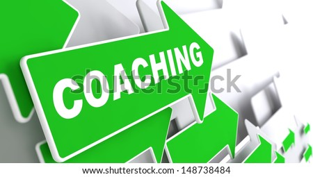 "Coaching - Business Concept. Green Arrow with ""Coaching"" slogan on a grey background. 3D Render. - stock photo"