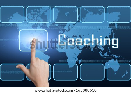 Coaching concept with interface and world map on blue background