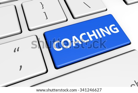 Coaching sign and letters on a blue computer key for blog and web business concept 3d illustration.