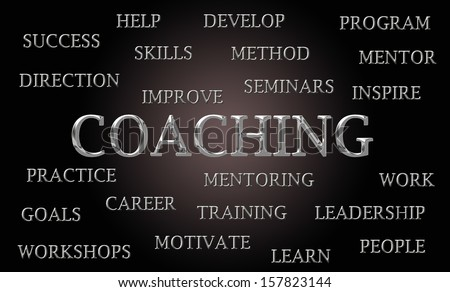 Coaching word cloud written in luxurious chrome lettets - stock photo