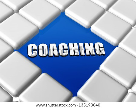 coaching word - 3d letters over blue between grey boxes, business growth concept - stock photo