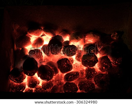 Coal and fire - stock photo