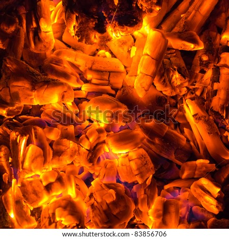 coal and firewoods burning fire background - stock photo