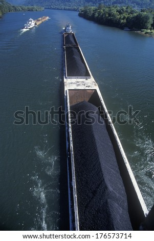 Coal Barges on  the Kanawha River in Charleston, West Virginia