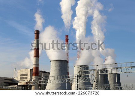 Coal burning power plant with smoke stacks, Moscow, Russia - stock photo