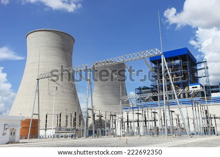 Coal fire Lignite power plant and 500 kV switchgear under-construction - stock photo