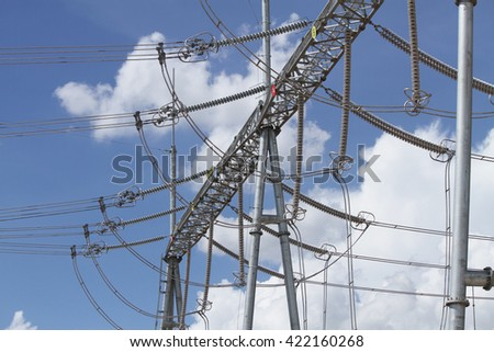 Coal fire Lignite power plant and switchgear under-construction - stock photo
