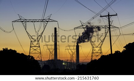 Coal fired plant making electricity - stock photo