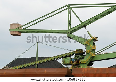 coal industry facility in the harbor of rotterdam - stock photo