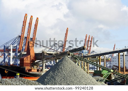 coal industry in the harbor of rotterdam netherlands - stock photo