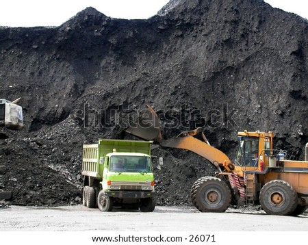 Coal loading at stockpile or coal terminal