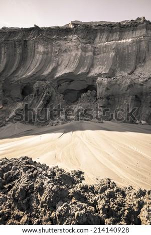 coal mine, land layer - stock photo
