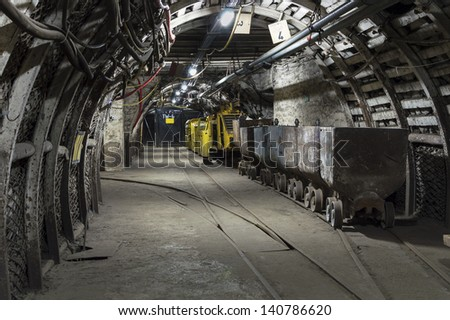 Coal Mine Machine to Move Trolley with Coal - stock photo
