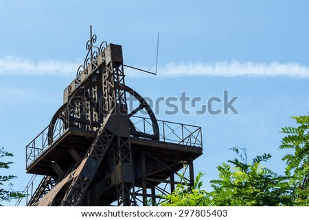 coal mine pithead - winding wheel - coliery tower