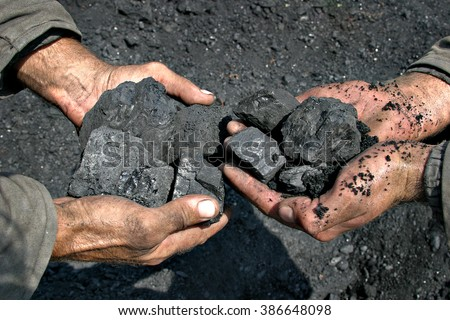 coal miner in the hands of coal background - stock photo